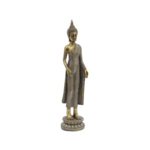 Aged Bronze Standing Buddha Sculpture