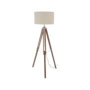 Apollo Natural Wood and Nickel Tripod Lamp