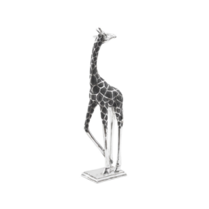 Silver Sculpture of giraffe with head back