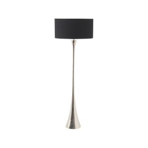 Fluted Nickel Floor Lamp with Black Shade