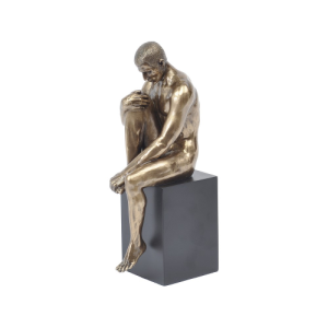 Bronze Sculpture of a Seated Male Nude