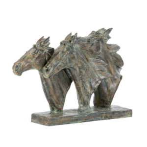 Trio Horse Head Sculpture in Bronze