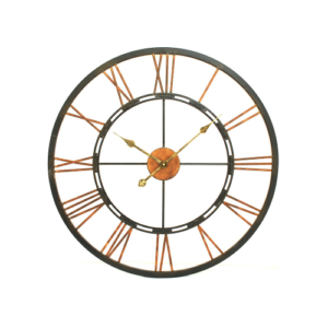 Aged Copper Black Skeleton Clock Small