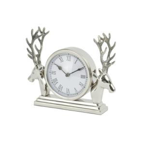 Aluminium Mantel Clock With Stag Surround