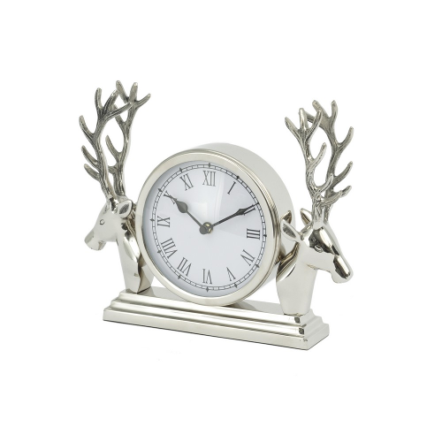 Aluminium Mantel Clock With Stag Surround