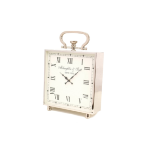 Ambassador Square Desk Mantelpiece Clock Polished Chrome