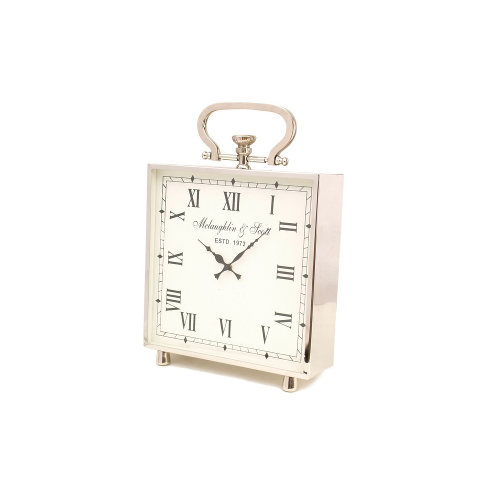 Ambassador Square Desk Mantelpiece Clock Polished Chrome