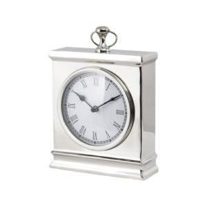 Amesbury Large Nickel Mantelpiece Desk Clock Polished Nickel