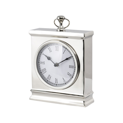 Amesbury Large Nickel Mantelpiece Desk Clock Polished Nickel