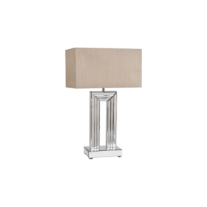 Aston Mirrored Glass Table Lamp with Cream Box Shade