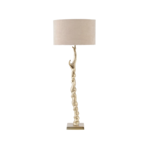 Dunes Gold Table Lamp with Aluminium Base and Cotton Shade Large