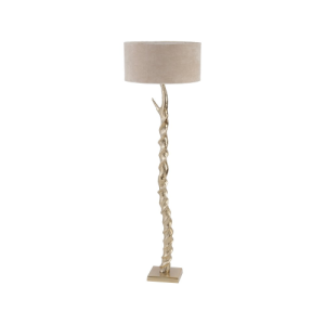 Dunes Gold Standard Lamp with aluminium base and cotton shade