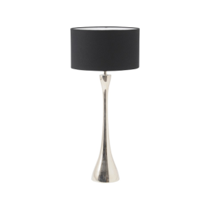 Lyra Nickel Table Lamp with Black Drum Shade
