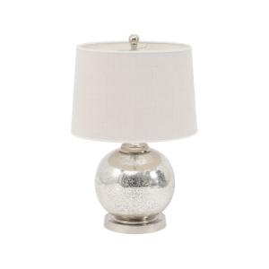 Mottled Mercury Sphere Lamp with cream shade and aluminium base