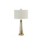 Regal Antique Brass And Glass Table Lamp With Linen Shade