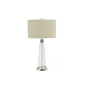 Regal Glass Table Lamp with Bleached Line Shade Large