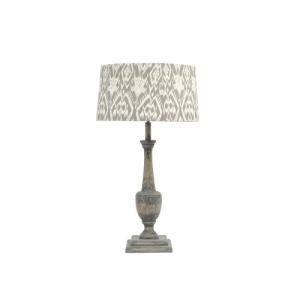 Roxborough Split Mindi Wood Lamp Base With Ikat Shade