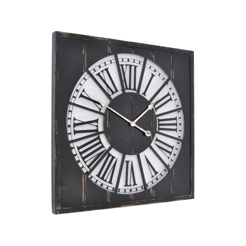 Rustic Black Square Ghost Wall Clock