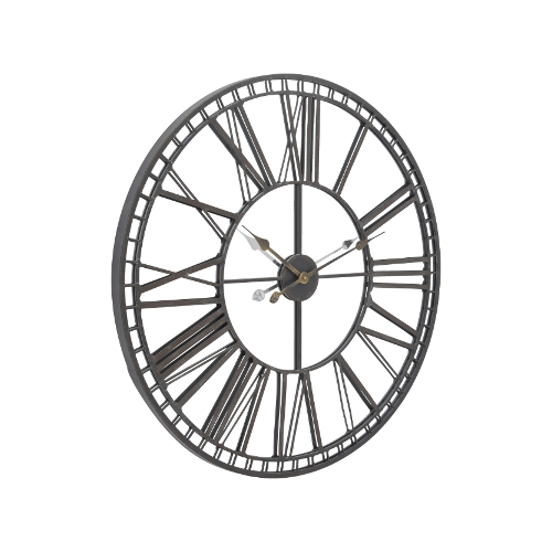 Skeleton Mirrored Wall Clock