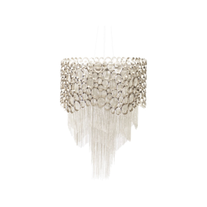 Venus Nickel Chandelier with Crystal Stones and Silver Chains
