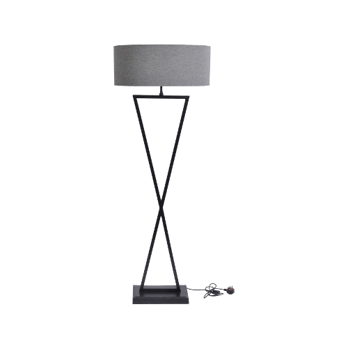 Wardour Black Floor Lamp with Grey Shade