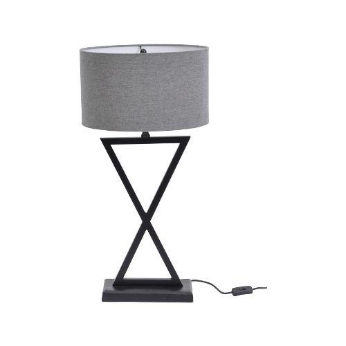 Wardour Black Table Lamp with Grey Shade