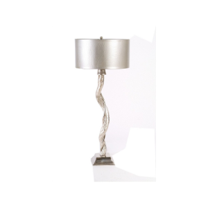 Willow Table Lamp Silver Nickel Large with Pewter Shade