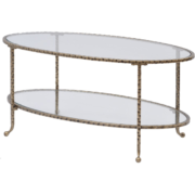 Hammered Gold Coffee Table With Glass Top 337525