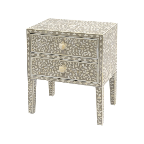 Petals Grey Bone Inlaid 2 Drawer Chest 337759
