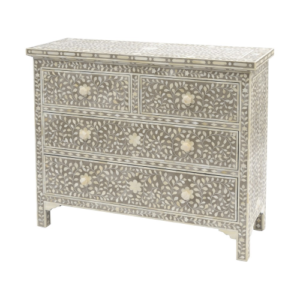 Petals Grey Bone Inlaid 4 Drawer Cabinet 337761