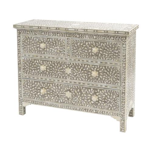 Petals Grey Bone Inlaid 4 Drawer Cabinet 337761