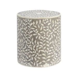 Petals Mid Grey Bone Inlaid Round Stool 337763