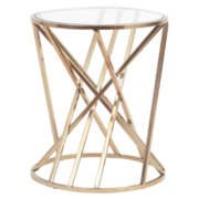 Copper Twist Round Side Table With Glass Top 700016