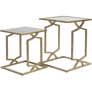 Geometric Set Of Two Nesting Side Tables With Black Glass Tops 337801