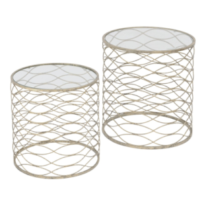Golden Woven Set Of 2 Nesting Side Tables 231148