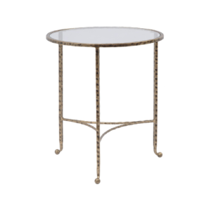 Hammered Gold End Table With Glass Top 337523