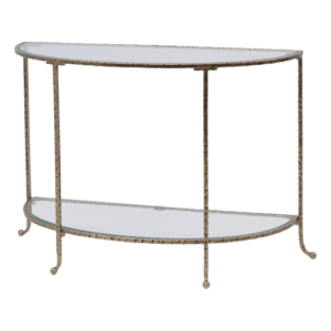 Hammered Gold Half Moon Console Table With Glass Top 337524