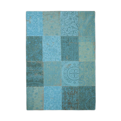 Patchwork Antique Azure Blue Rug Flat Lay 8015