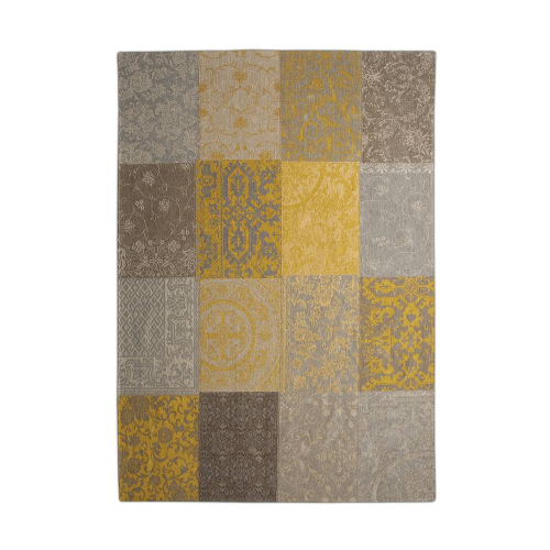 Patchwork Antique Ochre Rug Flat Lay 8084