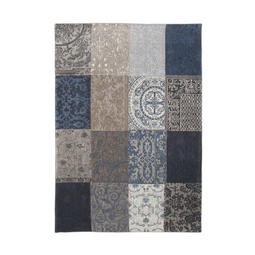 Patchwork Antique Royal Blue Rug Flat Lay 8108