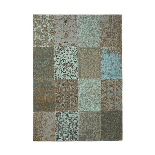 Patchwork Antique Sea Green Rug Flat Lay 8006