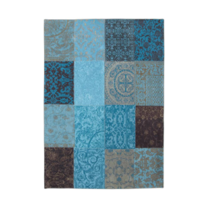 Patchwork Antique Turquoise Rug Flat Lay 8105