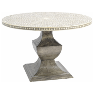 Petals Grey Bone Inlaid Round Dining Table On Metal Base 337754