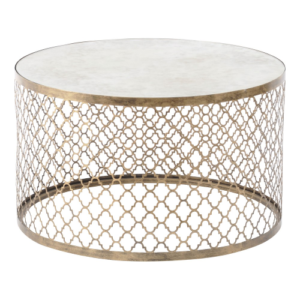 Quatrefoil Round Coffee Table With Mirror Top 213493