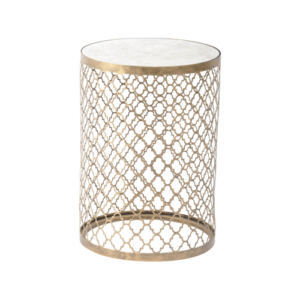 Quatrefoil Round Lamp Table With Mirror Top 213494