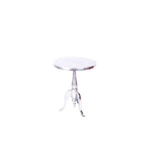 Romano Raw Aluminium Round Wine Table With Electroplated Nickel Finish 231116