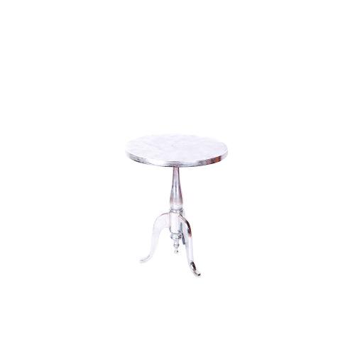 Romano Raw Aluminium Round Wine Table With Electroplated Nickel Finish 231116