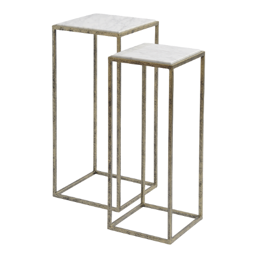 White Marble Set of Two Side Tables 700199