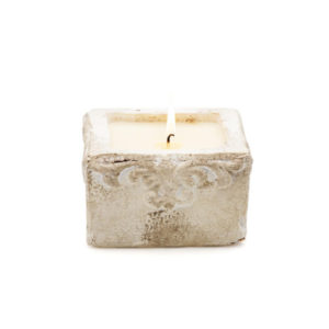 sea salt square candle in pot