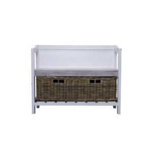 Hanley Hallway storage bench with basket